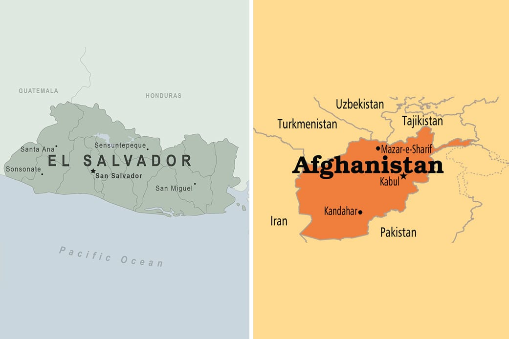 Side by side maps of El Salvador and Afghanistan.