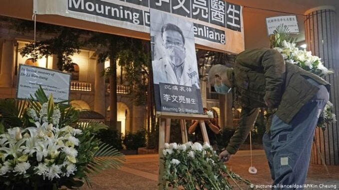 Memorial for Dr. Li Wenliang, the first whistleblower on Covid-19, at Wuhan Central Hospital.