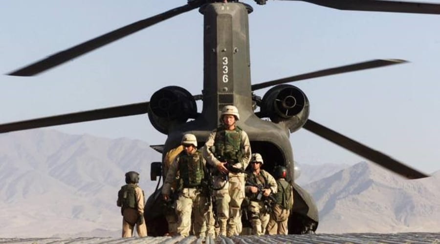 US troops landing for a military operation in Afghanistan